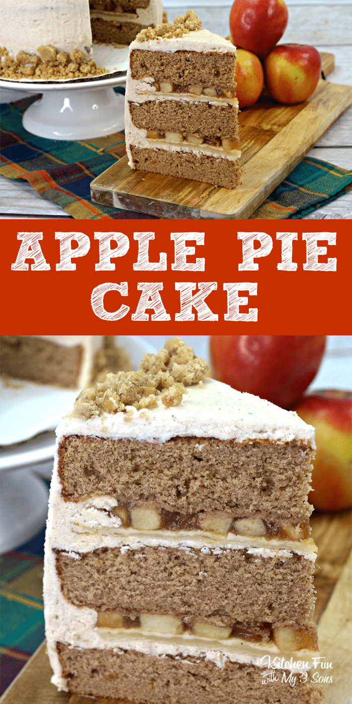 Apple Pie Cake is a yummy combination of moist cinnamon cake and apple pie. The best of both worlds! | Fall Dessert Recipes | Apple Pie Recipe