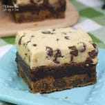 Chocolate Chip Cookie Brownie Bars is a three layer dessert recipe you will adore. Chocolate Chip cookie, topped with a brownie, topped with cookie dough. Such an amazing chocolate dessert!