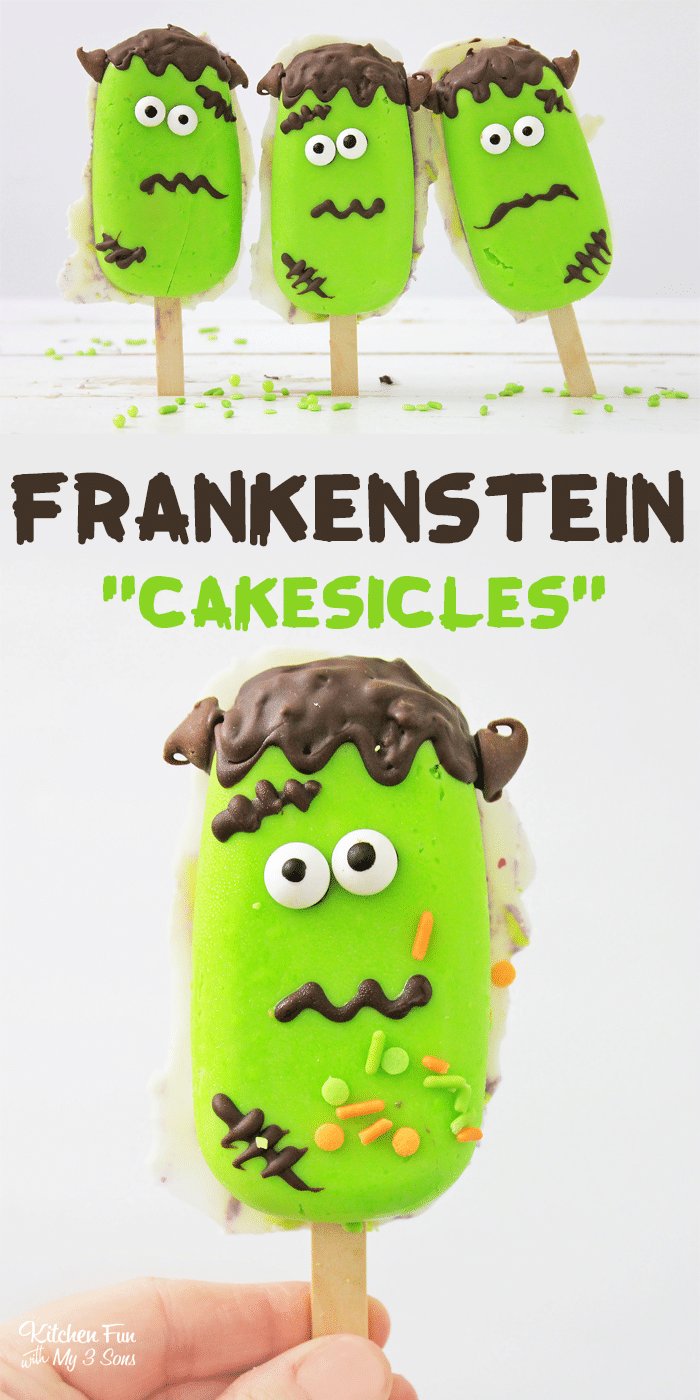 Frankenstein Cakesicles are the most fun Halloween cake pop ever! Cake in the middle with icing coating and it looks just like your friend Frankenstein. | Halloween Treats | Halloween Food Ideas for Kids | Creepy Halloween Food
