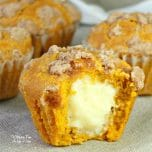These pumpkin cream cheese muffins are the perfect fall treat. They are have a cream cheese mixture filling and a crumbly cinnamon topping.
