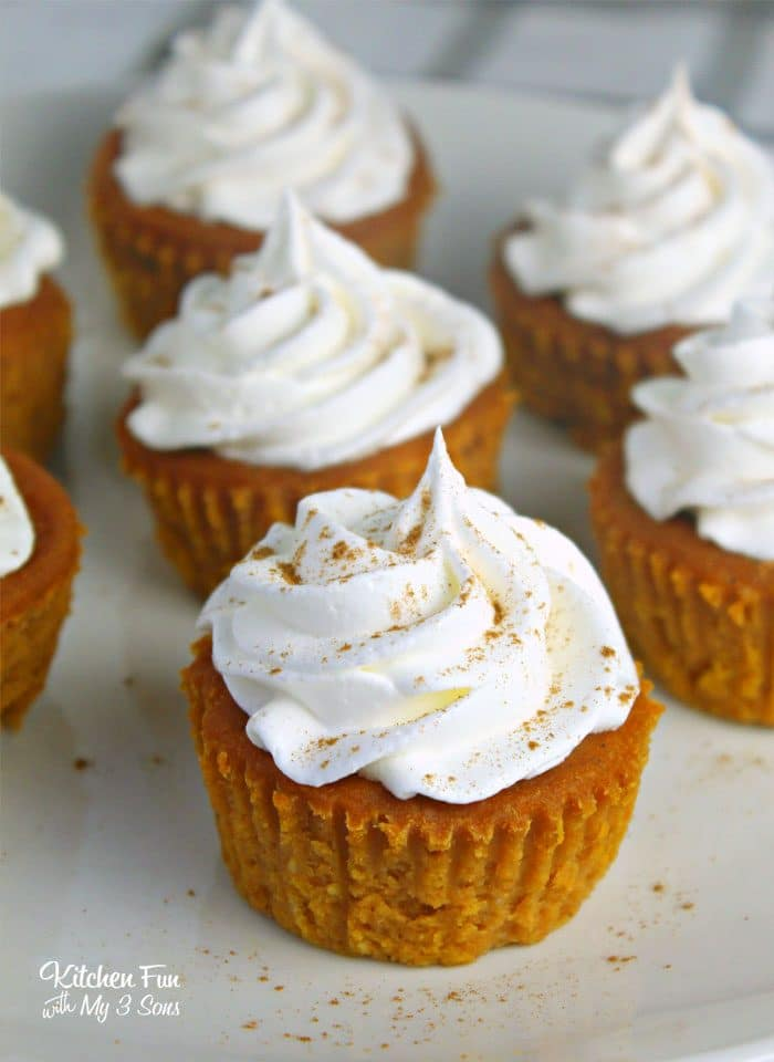 Pumpkin Pie Cupcakes on a white plate