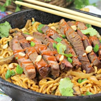Spicy Korean Beef Noodles with swiss steak, ramen noodles and Gochujang is a delicious dinner recipe to try, especially if you love spice!