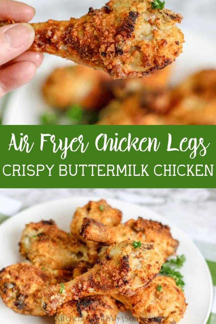 Buttermilk Air fryer chicken legs ready to be eaten