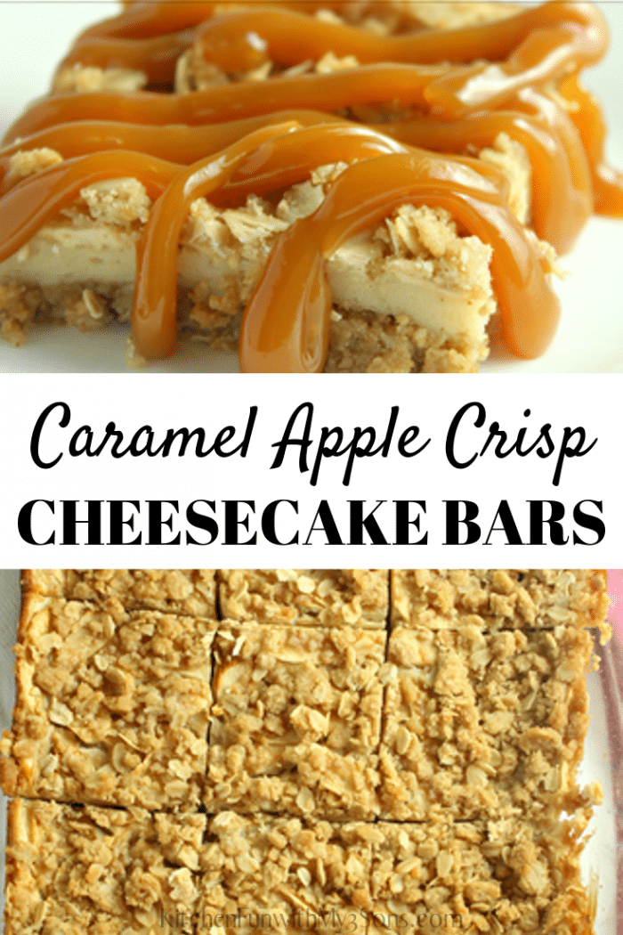 Caramel Apple Crisp Cheesecake Bars on a white plate with red and white napkin