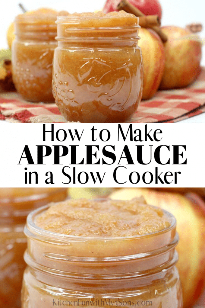 How to Make Applesauce in a Slow Cooker - applesauce in mason jars