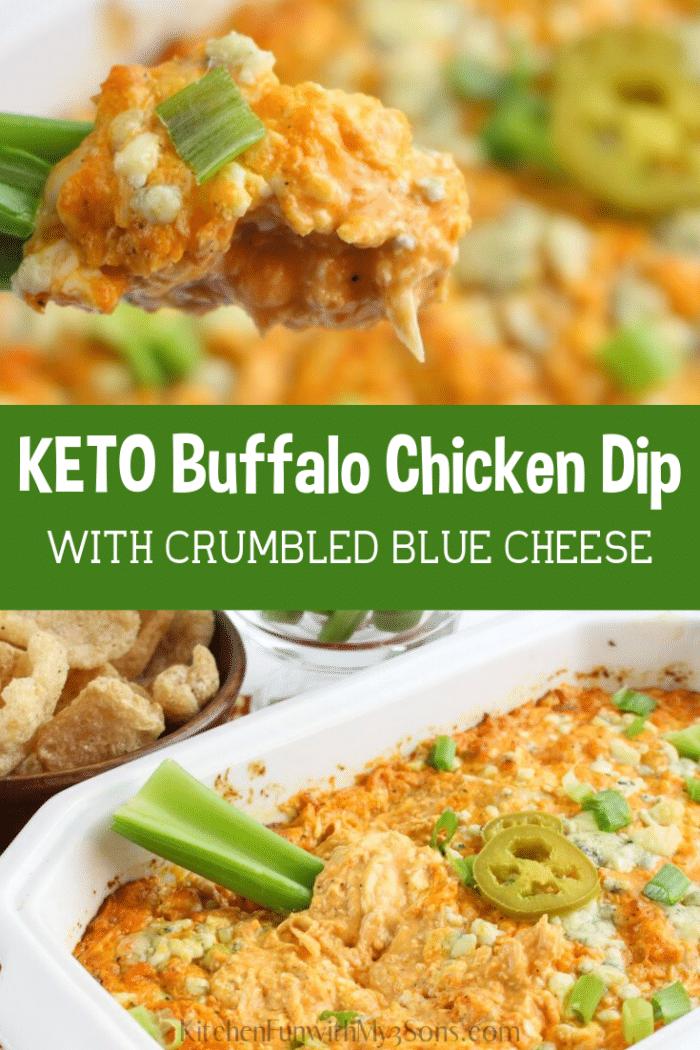 Keto Easy Buffalo Chicken Dip recipe with blue cheese