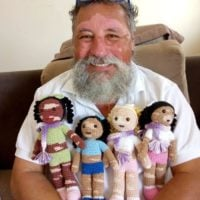 Sweet Grandpa Crochets Dolls With Vitiligo for Kids