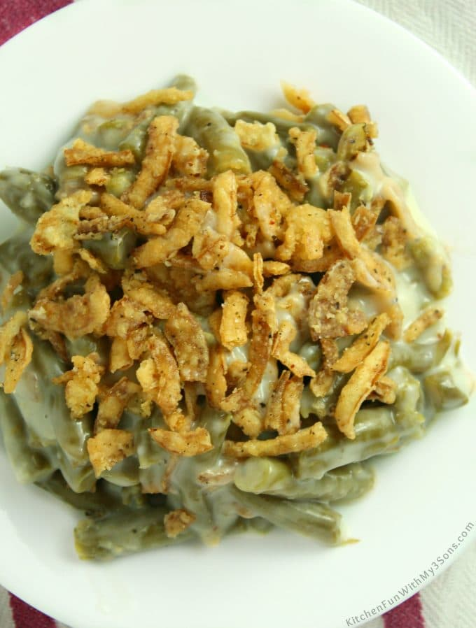 A Classic Green Bean Casserole is such a delicious side dish that everyone loves and takes very little skill. This is our favorite Thanksgiving recipe!