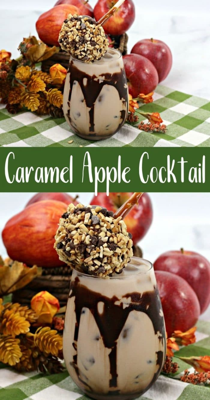 Collage image of caramel apple cocktail with chcoolate