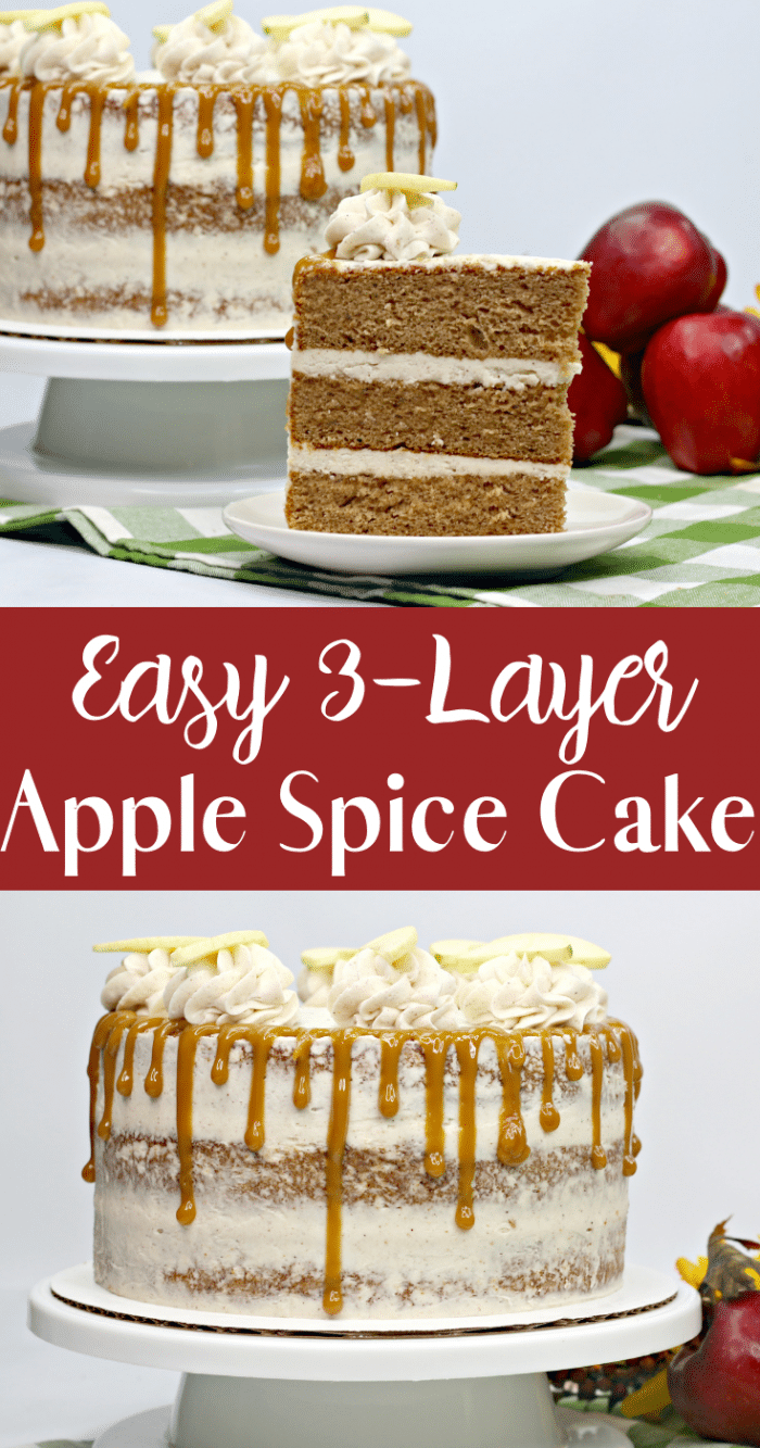 Collage of apple spice cake displayed on white cake stand