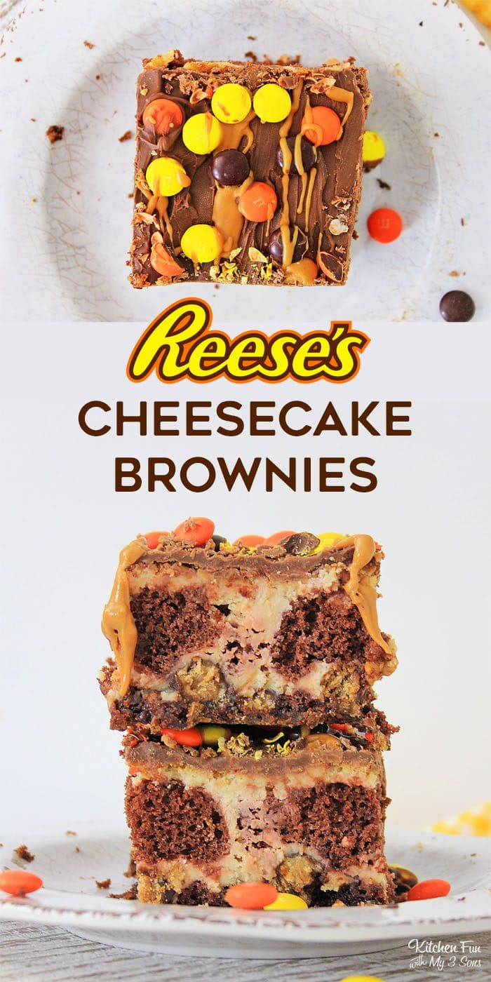 Peanut Butter Cup Cheesecake Brownies are the perfect dessert mashup that brings together brownies, cheesecake and to top it off, Reese's.