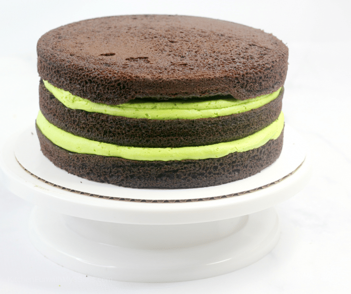 Stacked layers of chocolate cake with green icing showing between layers