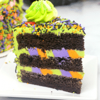 Up close picture of a slice of monster cake on a white saucer
