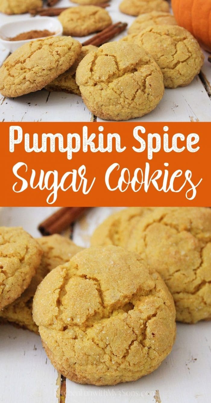 Up close picture of pumpkin spice sugar cookies recipe