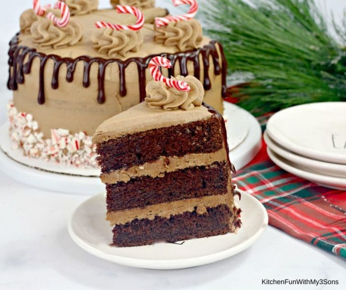 A slice of chocolate candy cane cake on a white saucer in front of prepared cake