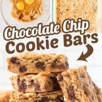 These soft and chewy Chocolate Chip Cookie Bars are absolutely delicious and easy to make! These save so much time, no scooping or chilling!