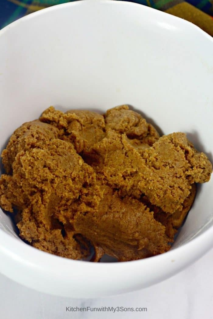 Gingerbread truffle mixture in a large white bowl