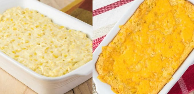 Corn Casserole Before and After Baking
