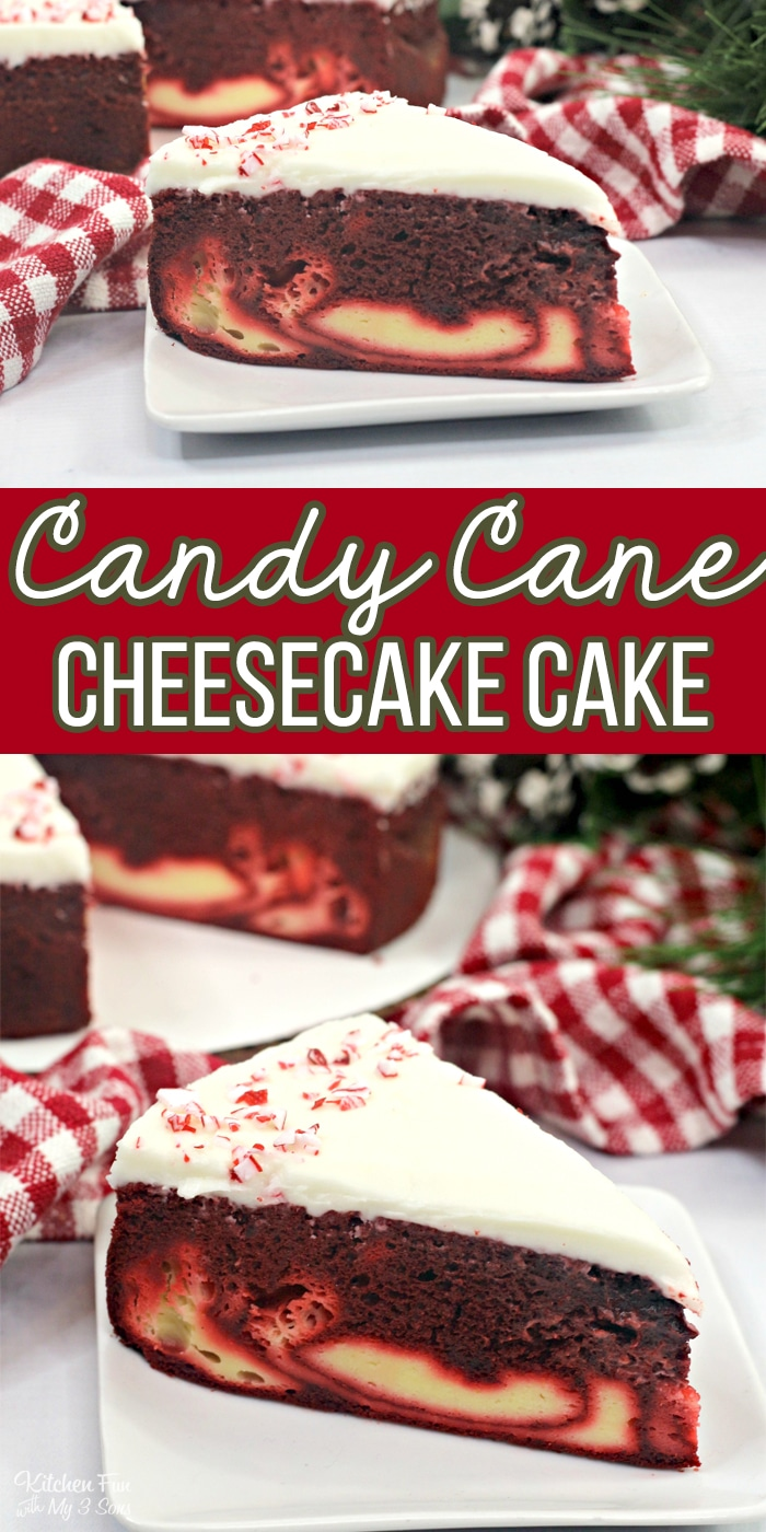 Candy Cane Cheesecake Cake is a fun holiday dessert recipe with a layer of moist Red Velvet cake, a layer of cheesecake and topped with a homemade cream cheese frosting.