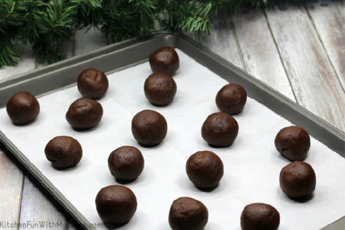 Chocolate cookie dough on baking sheet