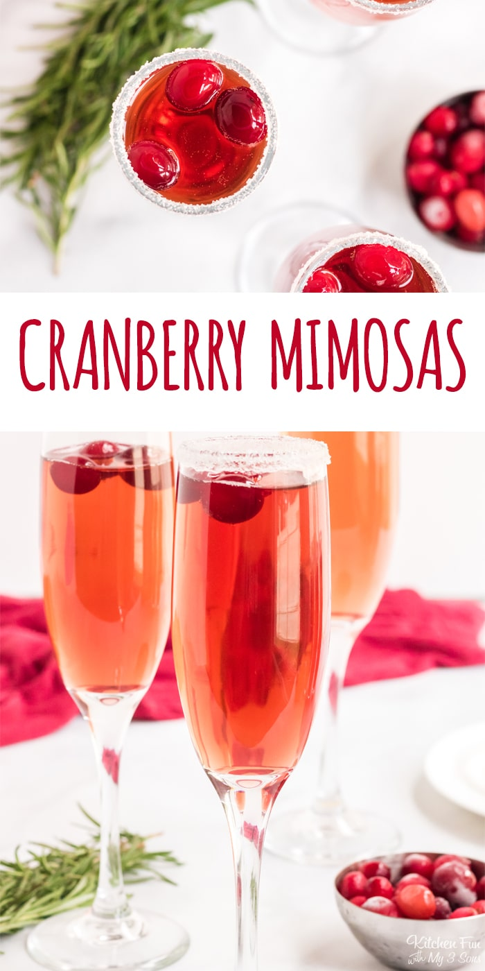 A Cranberry Mimosa is a delicious and easy Christmas cocktail. With a bright red color and sparkly sugar rim, t's is so pretty and festive for the holidays.