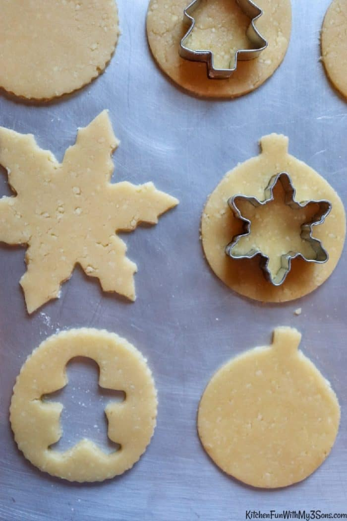 Cutting centers out of linzer cookies
