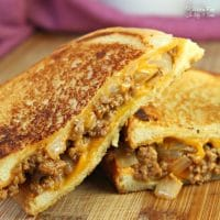 Sloppy Joe Grilled Cheese with Dill Pickles