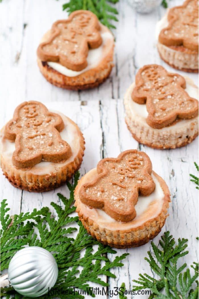 Gingerbead cookies on top of mini cheesecakes