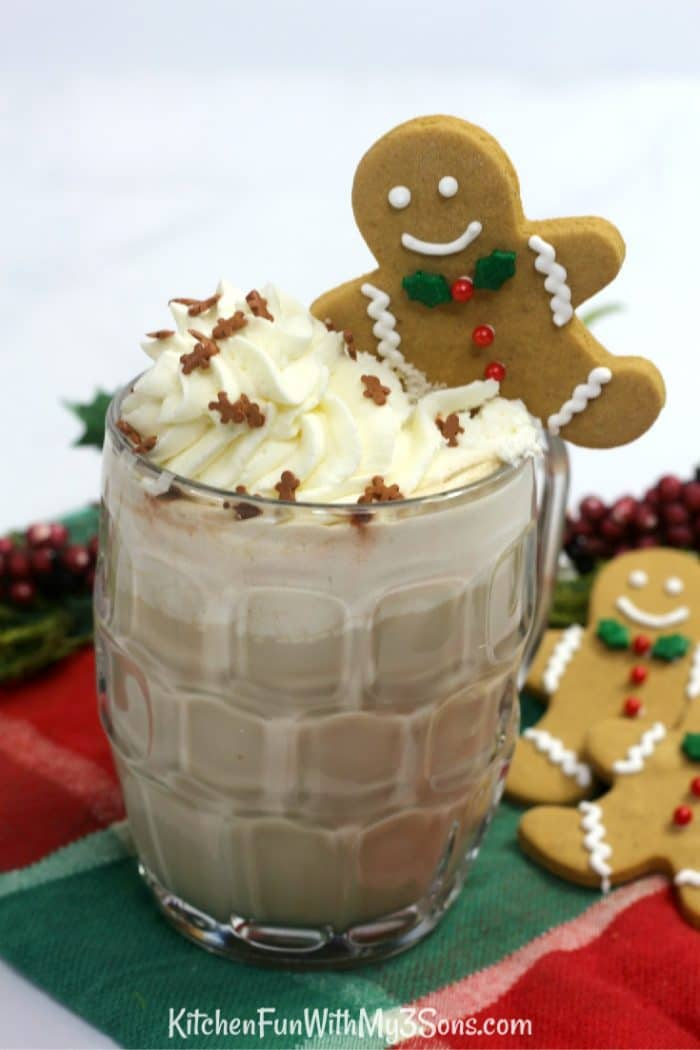 Glass filled with gingerbread latte