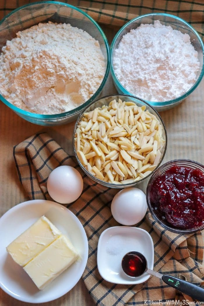 Ingredients for making raspberry linzer cookies