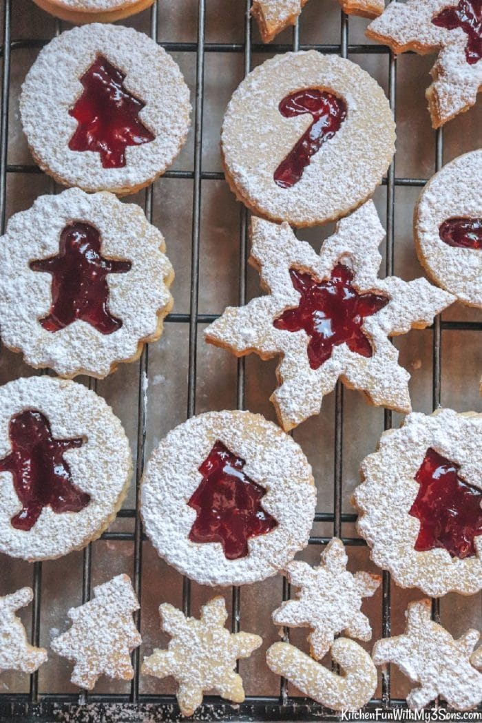 Overhead picture of linzer cookies on a wire cooling rack