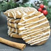 Stack of ginger maple cookies on table
