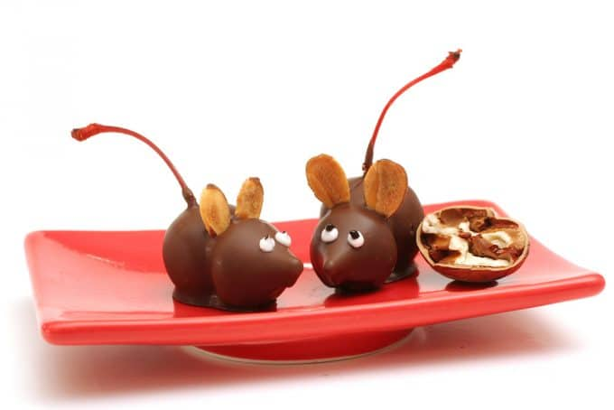 Chocolate Cherry Mice for Christmas