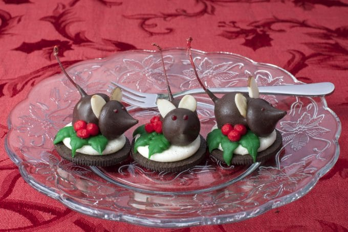 Chocolate Dipped Cherries on Oreo Cookies for Christmas