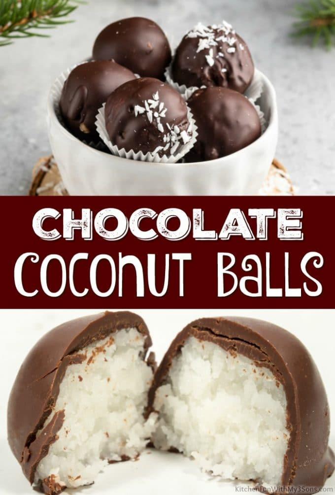 Chocolate Coconut Balls Collage