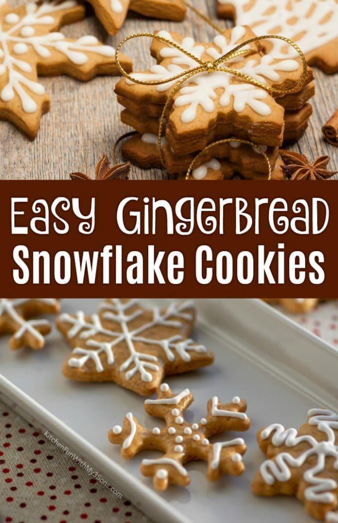 Easy Gingerbread Snowflake Cookies