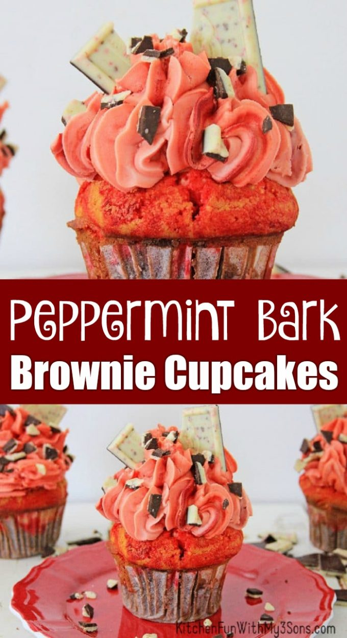 Peppermint Bark Brownie Cupcakes