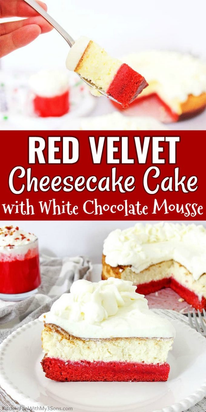 Red Velvet Cheesecake Cake with White Chocolate Mousse Collage