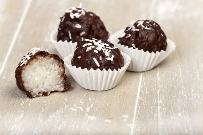 Coconut Balls in mini cupcake liners