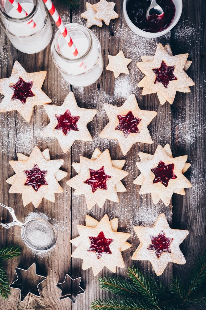 Cut out Christmas Cookies with Jam