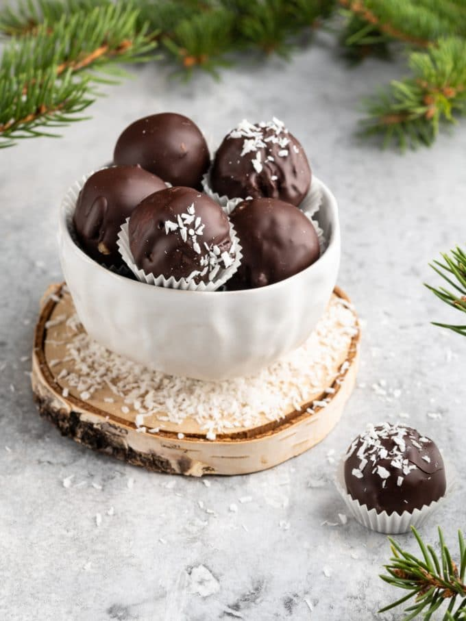 chocolate coconut balls in a bowl for the Holidays