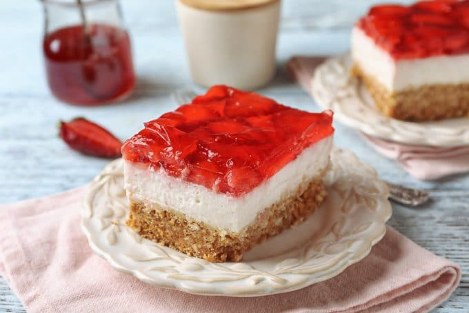 Cheesecake with a Strawberry Glaze Topping and Pretzel Crust