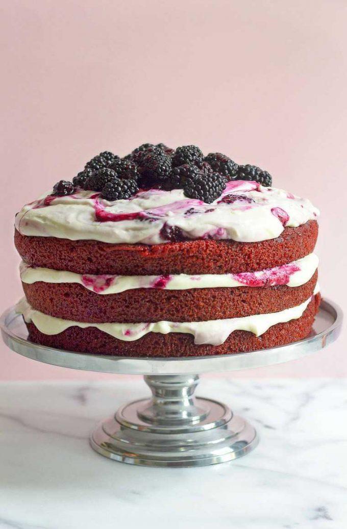 Red Velvet Blackberry Cake
