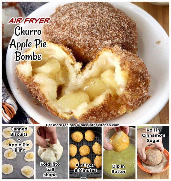 Air Fryer Churro Apple Pie Bombs