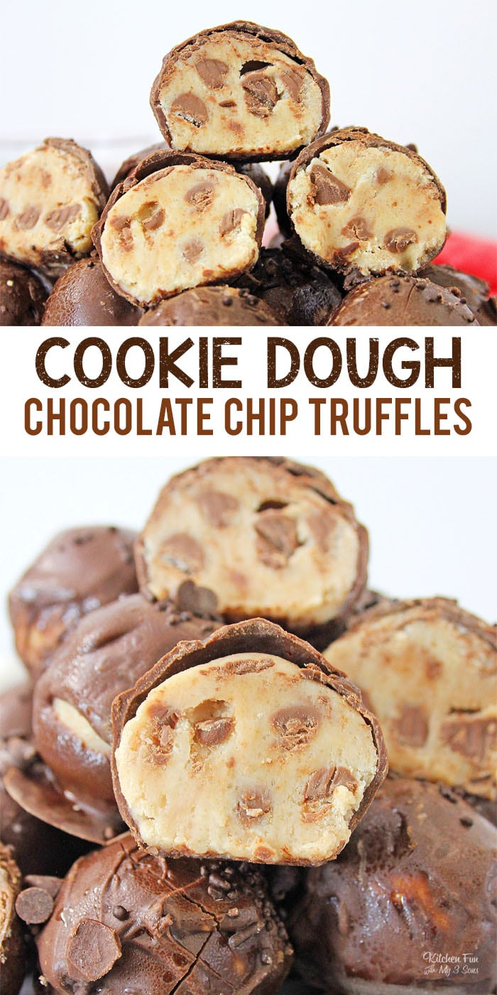 Chocolate Chip Cookie Dough Truffles is the best dessert ever for those of us that love eating cookie dough right out of the container!