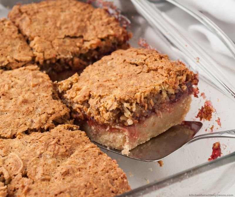 removing Coconut Pecan Shortbread Bars from pan