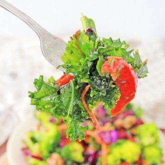upclose bite of healthy salad