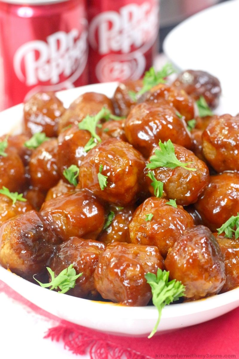 Dr Pepper Instant Pot Meatballs in a white bowl