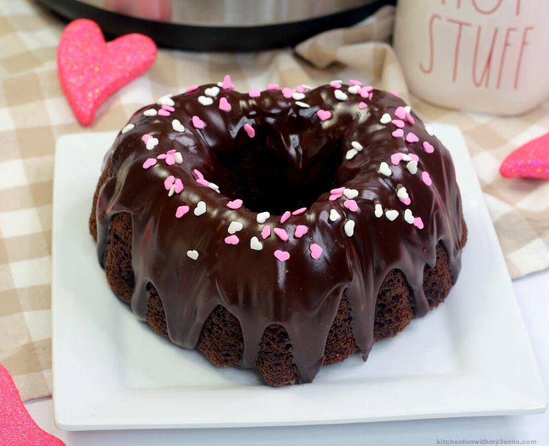 Instant Pot Chocolate Bundt Cake for Valetine's Day