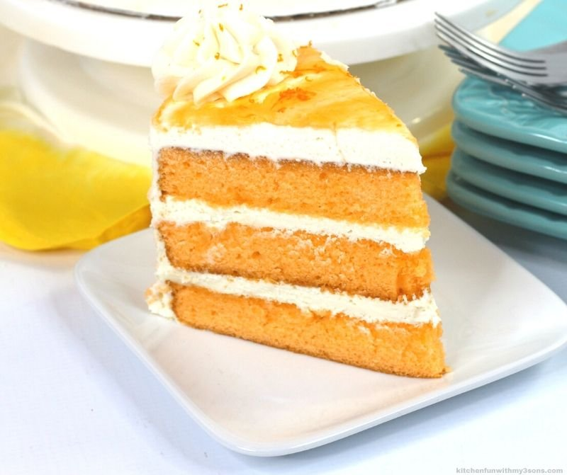 Layered Orange Cake on a white plate